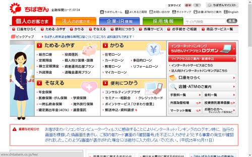 千葉銀行トップページ