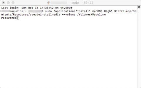 macOS High Sierraインストール ターミナル パスワード入力です