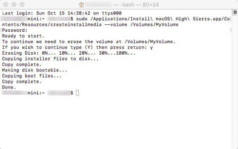 macOS High Sierraインストール ターミナル メディア完了です