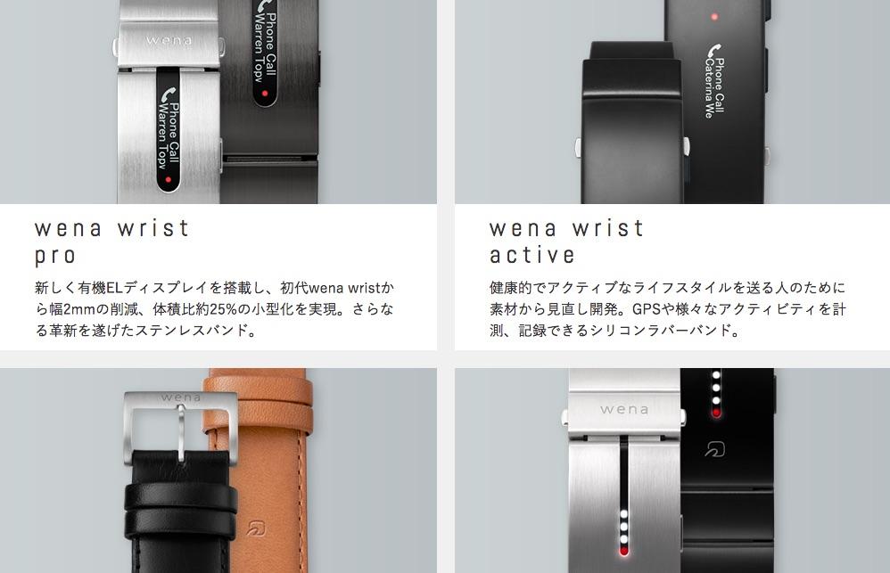 「wena wrist active」と「wena wrist pro」の違いイメージです