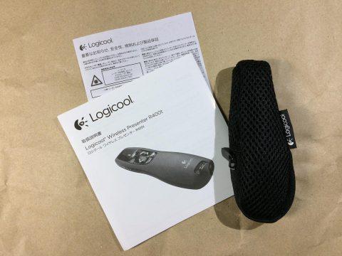 logicool r400t ワイヤレスプレゼンター 同梱物です
